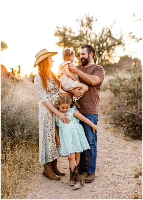 Lifestyle Sunset Family Portrait Session in the Scottsdale Desert