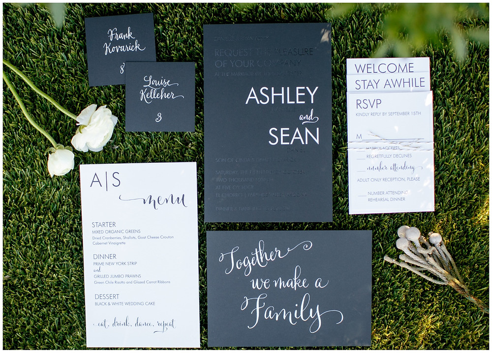 black on black invitation, invite suite, black and white, wedding