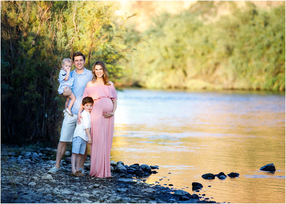 maternity and family portrait at salt river in arizona