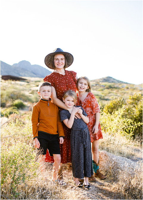 Desert Boho Autumn Fun - The Hoffman family in the fall Arizona Desert of Scottsdale