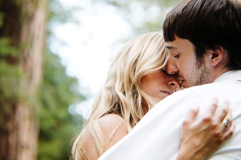 romantic engagement session photos in the woods