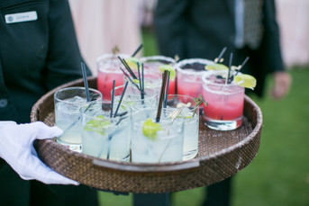 signature cocktails for wedding guests, pink drinks, wedding day photography by jennifer bowen