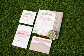 pink and green invitation, kraft, succulent, green, desert cacti, watercolor, pretty invitations for wedding day, image by jennifer bowen photography in scottsdale arizona