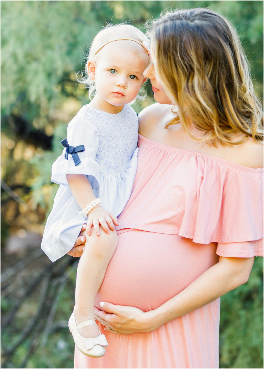 mother and daughter portrait - maternity photo in blush pink dress