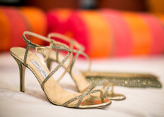 gold sparkle jimmy choo high heel shoes, bride, wedding day shoes, strappy heels, wedding day photography by jennifer bowen in scottsdale