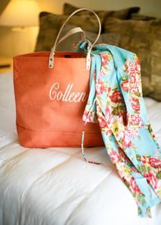 gift bag for bridesmaids, coral linen embroidered tote bag, with floral cotton robe, bridal party robes, wedding day photo by jennifer bowen