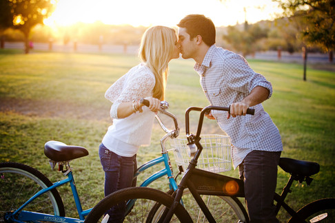 engagement session with bikes