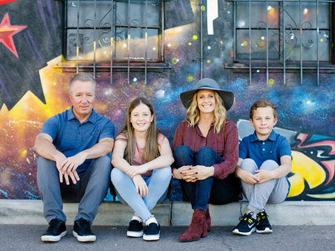 Color filled family photo session in Downtown Phoenix