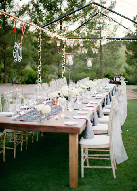 wedding photos, paradise valley country club, scottsdale, arizona, wedding locations, country club weddings, ceremony, jennifer bowen photographer, outdoor tent, open tent wedding, farm tables, gray and white, details, decor, ideas, lighted open tent