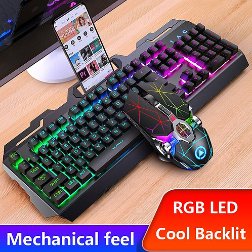 Metal LED Gaming Keyboard Mouse Combo