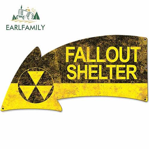 13cm X 14cm Vintage Style Fallout Shelter Arrow Sign