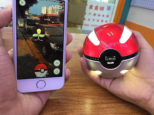 Quick Charge Pokemon Red Ball Power Bank 10000mA Charger With LED Light