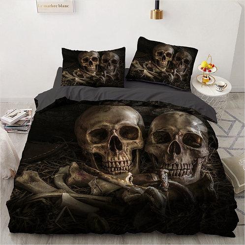 3pcs Skull Soft Duvet Cover Sets 1 Quilt Cover + 1/2 Pillowcases