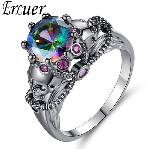 Skull Rainbow & Black Crystal Zircon Rings for Women