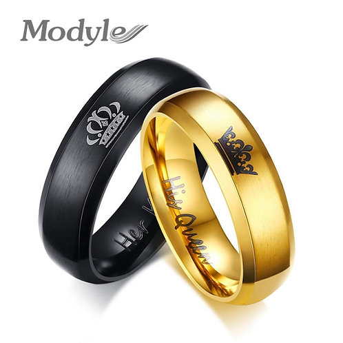 His Queen and Her King Crown Ring Black and Gold Color