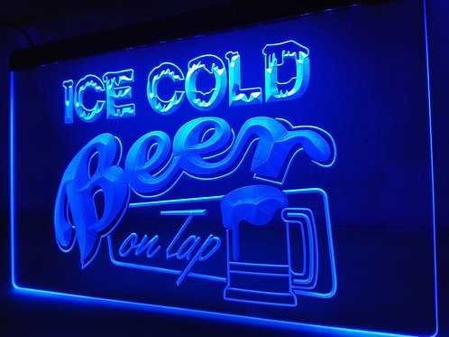 LB912- Ice Cold Beer on Tap Bar   LED Neon Light Sign   Home Decor  Crafts