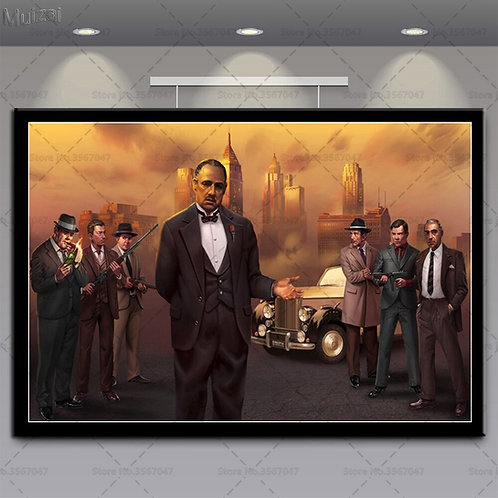 Godfather Scarface Gangsters Wall Art Poster Canvas Painting