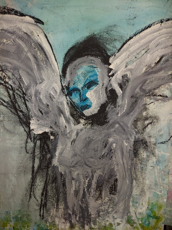 Jai Jung Bahadur Mitchell b. 1972 LOOK THROUGH ANGEL SHOUTS  signed acrylic, charcoal, and ink on paper 24 x 18 in. (61.0 x 46.0 cm.) Painted in 2020
