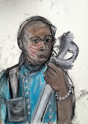 Jai Jung Bahadur Mitchell b. 1972 THE RECKONING OF A WARRIOR  signed acrylic and charcoal on paper 24 x 18 in. (61.0 x 46.0 cm.) Painted in 2019  Not For Sale