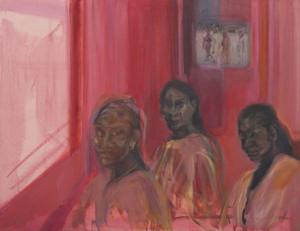 J Chuhan 'Refugee Girls' 2016 oil on can