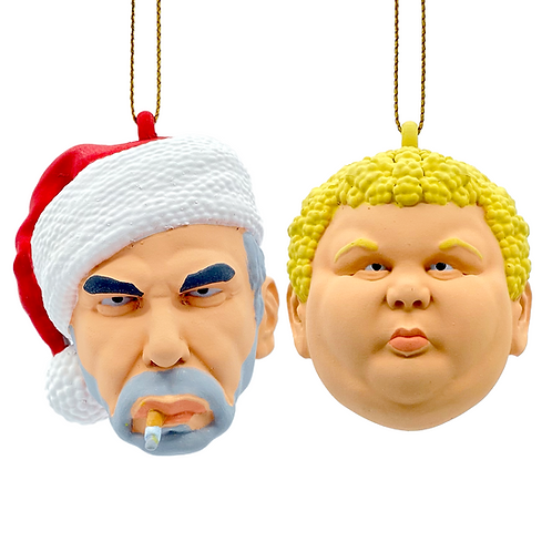 Face Balls Bad Santa Ornaments both