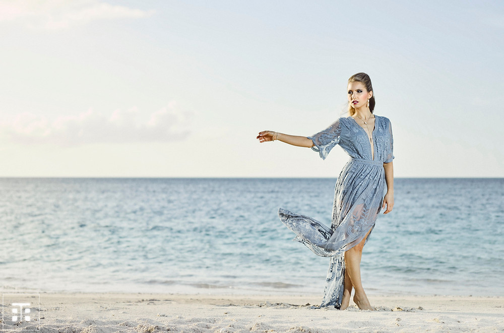 Theresa modeling on Grace Bay beach in Turks and Caicos for Frank Withers Photography #frankwithers #fashionphotographer #commercialphotographer