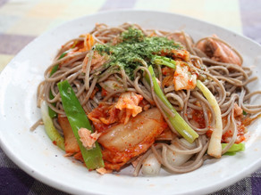 Kimchee and Salmon Soba Noodles