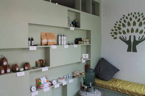 Our Reception area with our products on display