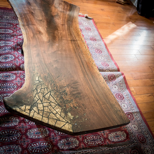 Walnut crotch coffee table with epoxy inlay