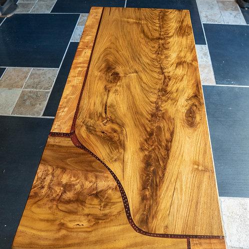 Teak mango board with epoxy inlay coffee table