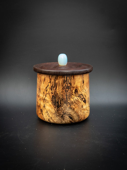 Unique Turned Lidded Wooden Bowl Container Box  Highly figured spalted maple