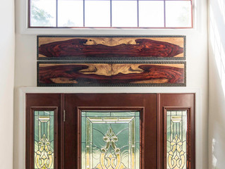 The cocobolo wall hanging above front door.