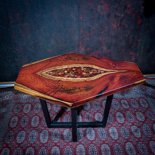 Cocobolo coffee table with epoxy stone inlay