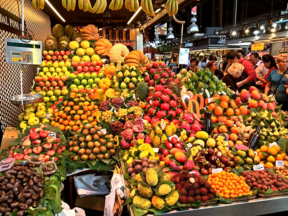 Gorgeous display of fruit at the market in Barcelona