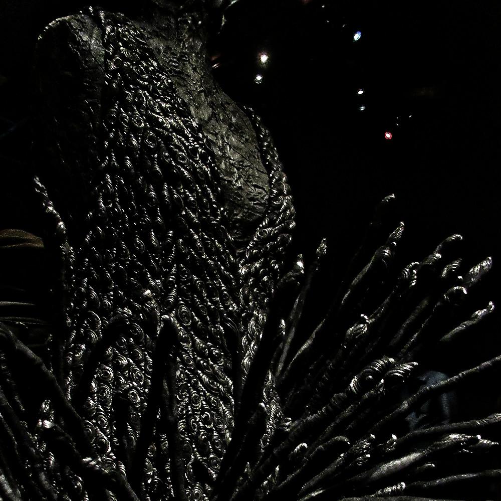 Creative textured black YSL dress, Marrakech