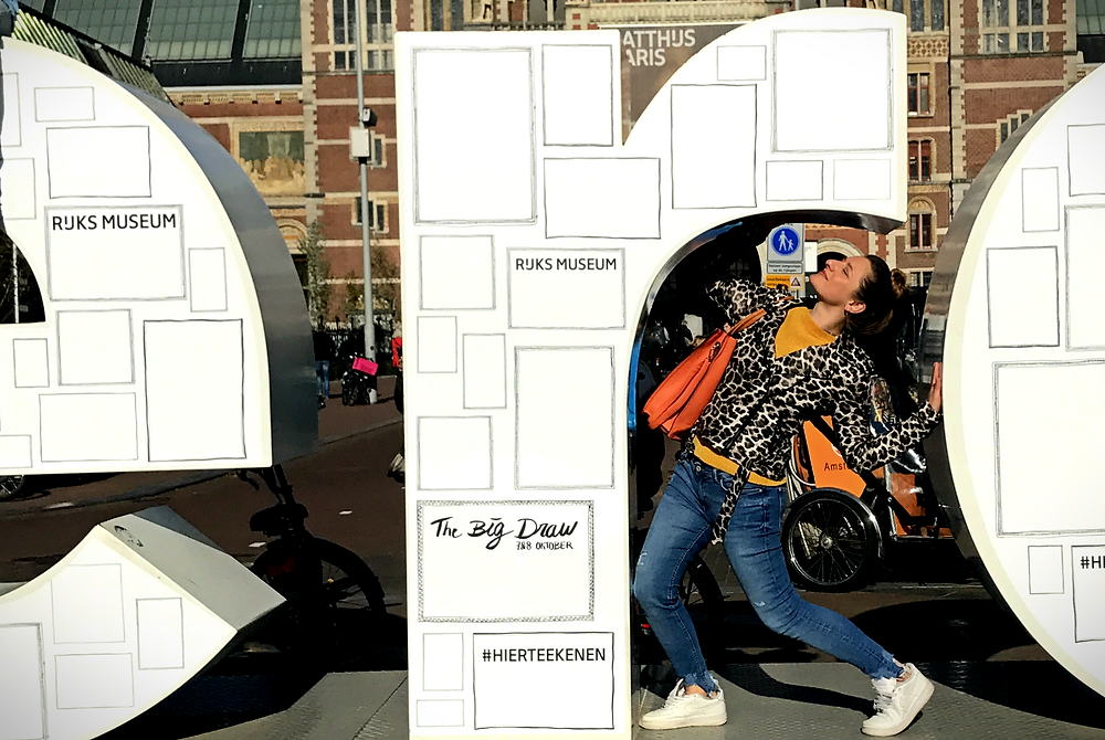 Being ridiculous at the I Amsterdam sign. Glowing to the gods though!