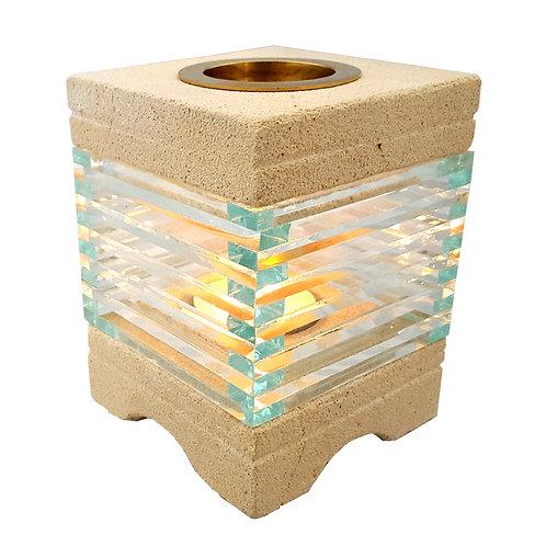Aromalampe Kubisch, Sandstein und Glas