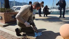 El escultor Toni Marí coloca la primera pieza en el Puerto Deportivo  Marina de Dénia