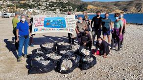 Un colectivo local retira doce bolsas cargadas de toallitas higiénicas de la playa del Benissero