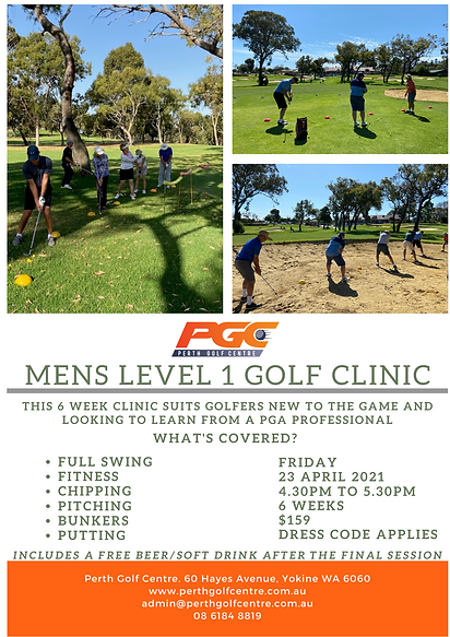 Mens level 1 golf clinic at Perth Golf Centre - Trackman