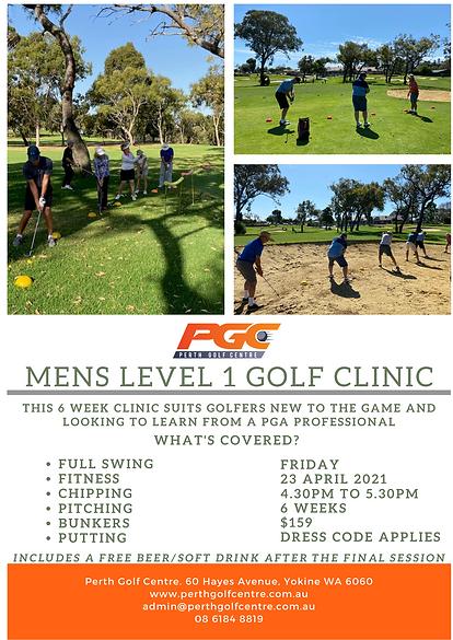 Mens level 1 Golf Clinic at Perth Golf Centre. Trackman - Perth
