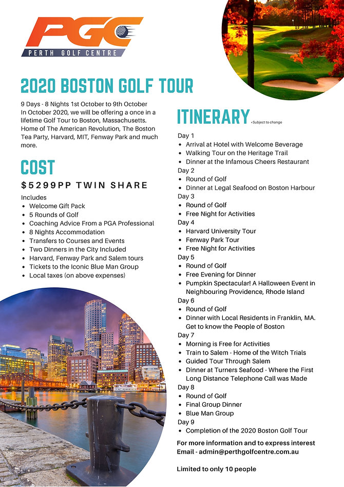 Golf Tour, Boston, Golf Coach