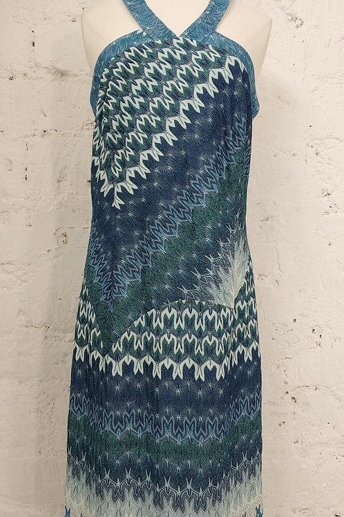 Robe maille à bretelles motifs bleus MISSONI