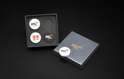 "RTL"" Group   Giftbox interior design Foam laser cutting Assembling RTL'' Group logo engraving on the box"