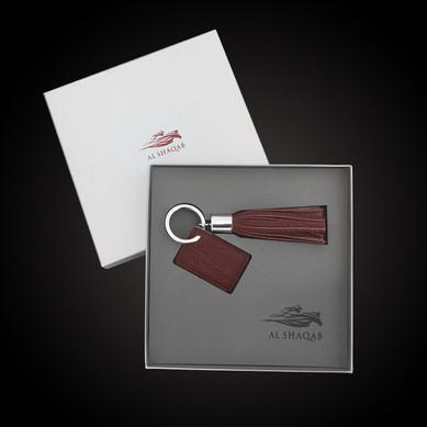 Al Shaqab  Box interior design Foam laser cutting and logo engraving Tailormade keyring (Napa leather)