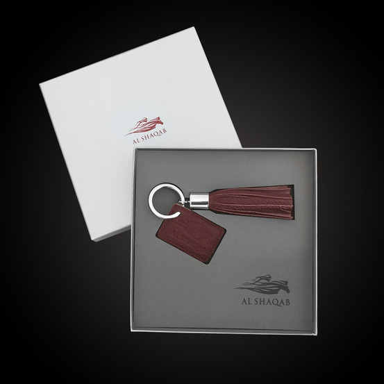 Al Shaqab  Box interior design Foam laser cutting and logo engraving Tailormade keyring (Napa leather)