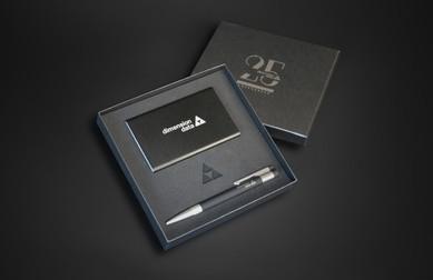 Giftbox Dimension Data - 25th Anniversary  Box interior design Foam laser cutting and logo engraving Dimension Data logo engraved on both the powerbank and the USB pen