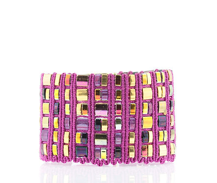 Pink and gold mosaic cuff bracelet
