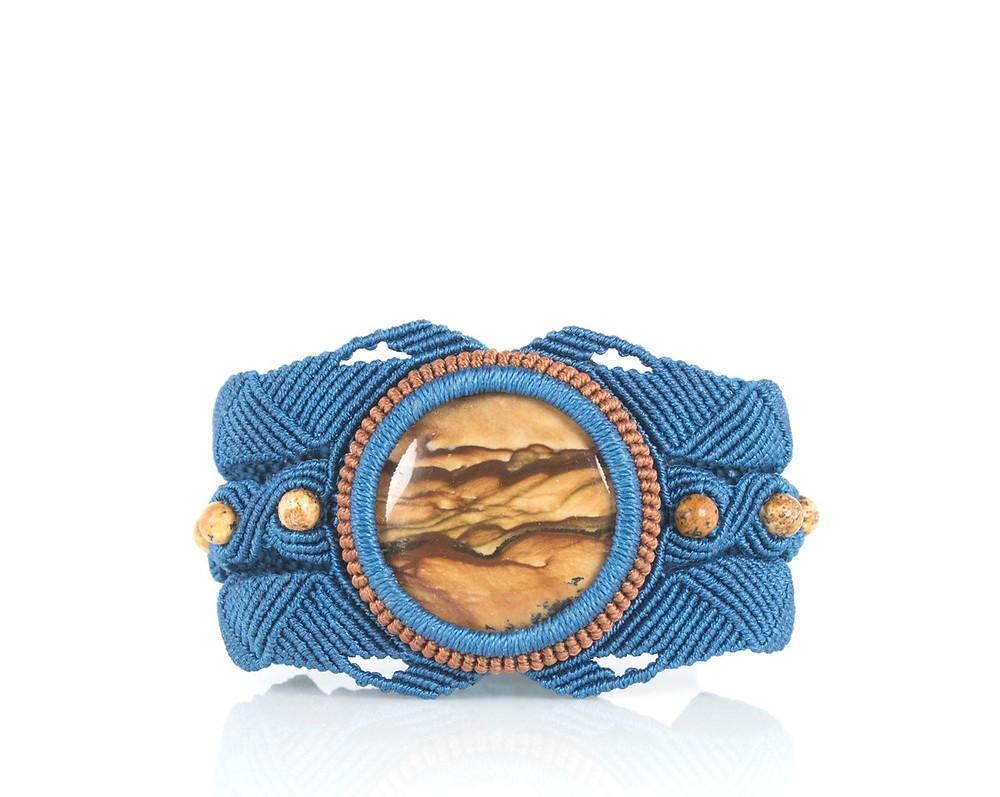 Biggs japser bracelet with teal and russet fiber