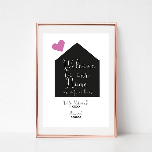 Welcome to our Home, Personalised WiFi Print